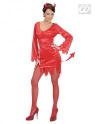 Rood lovertjes duivel kostuum voor vrouwen