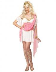 Roze goudkleurige en witte Griekse outfit voor vrouwen