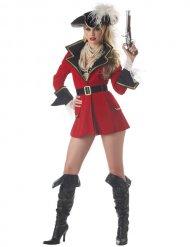 Sexy rood piraten kostuum met jas voor dames