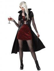 Rood vampier kostuum met zwarte cape voor vrouwen