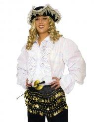 Witte piratenblouse met franjes voor volwassenen