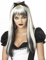 Witte en zwarte pruik met lange haren voor volwassenen