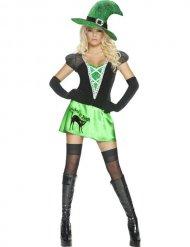 Zwart en groen sexy heks kostuum voor vrouwen