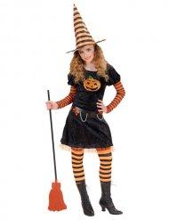 Zwart en oranje heks kostuum voor kinderen