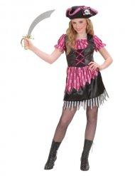 Roze en zwart girly piratenkostuum voor meisjes