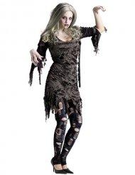 Grijs zombie Halloween kostuum voor vrouwen