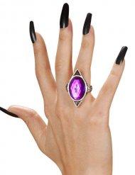 Gotische ring met paarse edelsteen