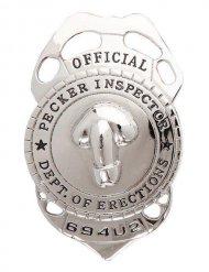 Zilverkleurige penis politie badge