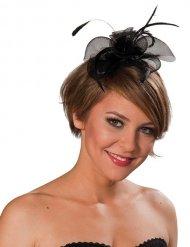 Zwarte haarband met roos voor vrouwen