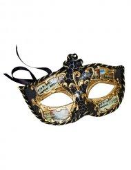 Zwarte en goudkleurig Venetiaans masker voor volwassenen