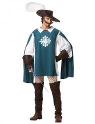 Blauw klassiek musketier kostuum voor heren