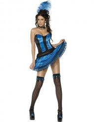Blauw burlesk danseres kostuum voor vrouwen