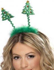 Kerstboom haarband met nepbont voor volwassenen