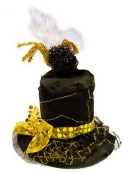 Zwarte en goudkleurige spinnenweb hoed voor volwassenen