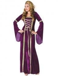 Paars goud Middeleeuws kostuum voor vrouwen