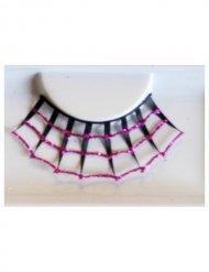 Roze en zwarte spinnenweb wimpers