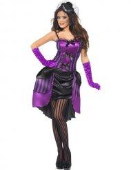 Sexy zwarte en paarse burleske outfit voor vrouwen