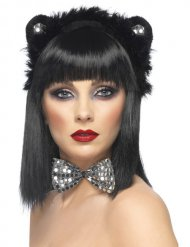 Zwarte en zilverkleurige kattenset voor volwassenen