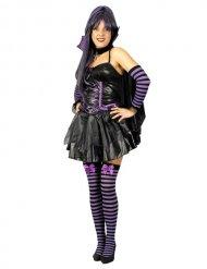 Sexy zwart en paars vleermuis kostuum voor vrouwen