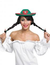 Rode en groene Tiroler hoed voor vrouwen