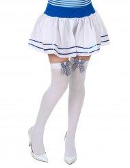 Witte matrozen kousen met strik voor vrouwen