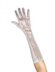 Lange zilverkleurige handschoenen met lovertjes voor vrouwen
