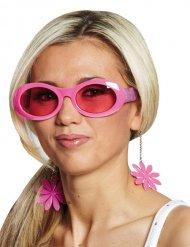 Roze discobril met bloemen