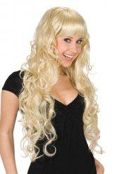 Lange blonde pruik met krullen en pony voor volwassenen