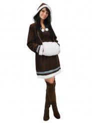 Bruine bontachtige eskimo outfit voor vrouwen