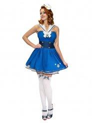 Blauw en wit matrozen kostuum voor vrouwen