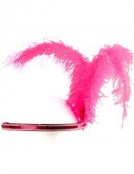 Roze charleston hoofdband met veren