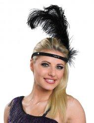 Zwarte charleston hoofdband met veren en lovertjes