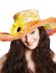 Oranje hippie hoed met bloemen