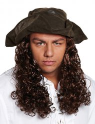 Piraten hoed met haren voor volwassenen