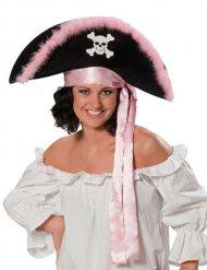 Zwart met roze piratenhoed voor dames