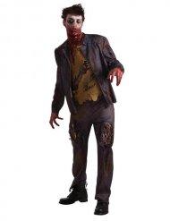 Khaki en zwart zombie kostuum voor volwassenen