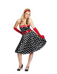 Gestipt zwart en rood jaren 20 kostuum voor vrouwen