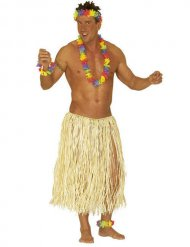 Lange beige Hawaiiaanse rok voor volwassenen