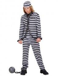 Zwart en wit gevangene kostuum voor kinderen