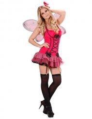 Sexy roze en zwart vlinder kostuum voor vrouwen