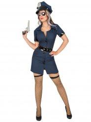 Donkerblauw en zwart politie kostuum voor vrouwen