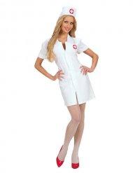 Wit verpleegster kostuum met hoedje voor vrouwen