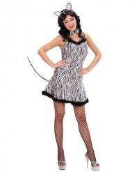 Sexy zebra kostuum met veren voor dames