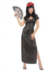Zwart satijnachtig Aziatisch kostuum voor vrouwen