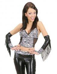 Zebra mouwen met franjes voor volwassenen