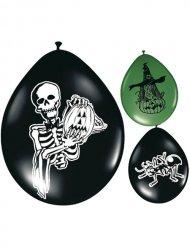 8 zwarte en groene Halloween ballonnen