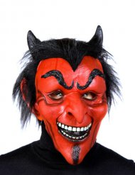 Rood en zwart latex duivel masker voor volwassenen