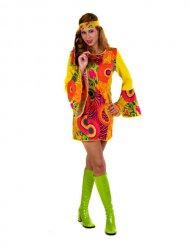 Kleurrijk psychedelisch hippie kostuum voor vrouwen