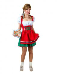 Rood en groen Beiers kostuum voor vrouwen