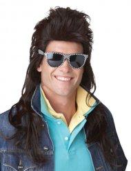Zwarte jaren 80 rock mulet pruik voor mannen